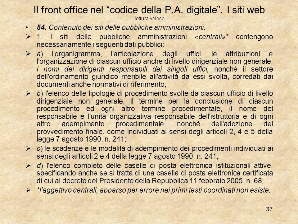 Il front office nel codice della P. A. digitale