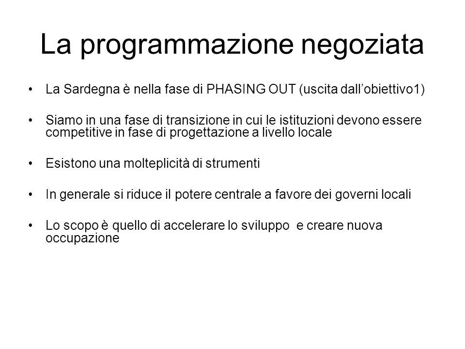 La programmazione negoziata