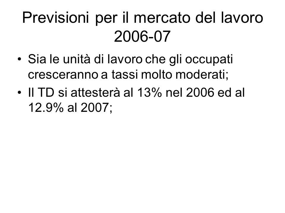 Previsioni per il mercato del lavoro 2006-07