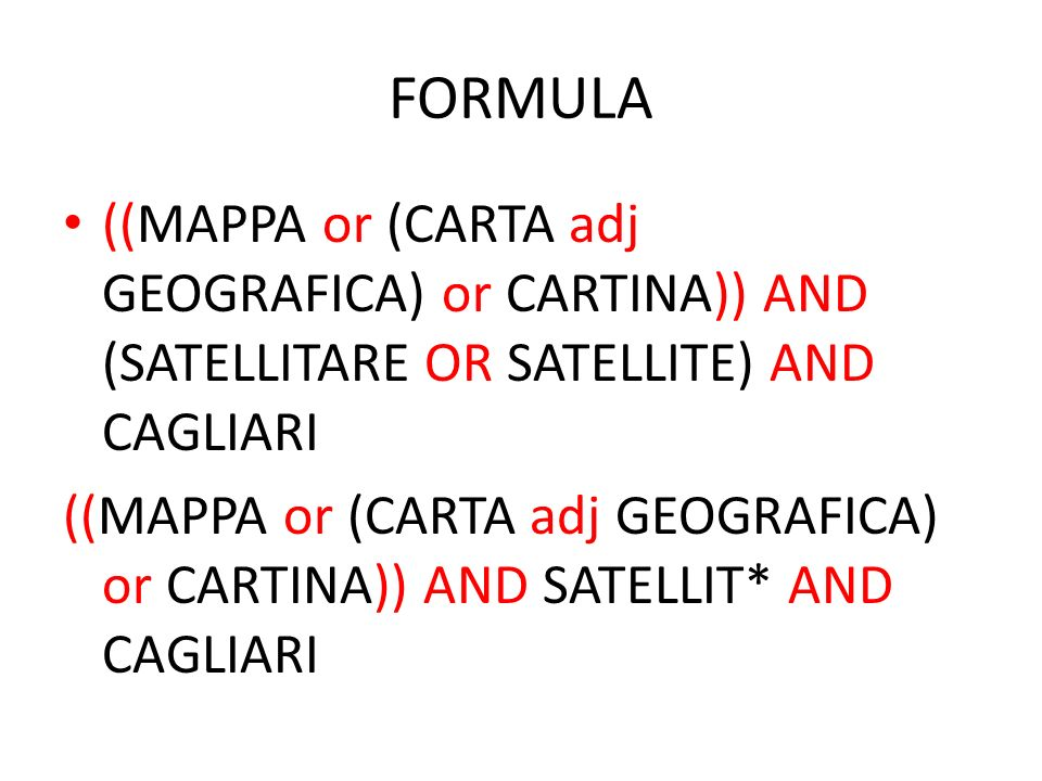 FORMULA ((MAPPA or (CARTA adj GEOGRAFICA) or CARTINA)) AND (SATELLITARE OR SATELLITE) AND CAGLIARI.