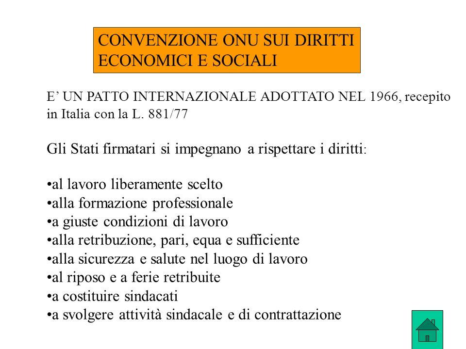 CONVENZIONE ONU SUI DIRITTI ECONOMICI E SOCIALI