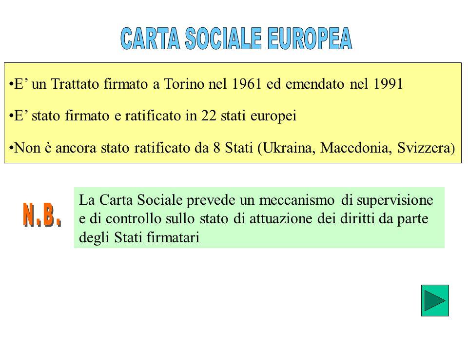 CARTA SOCIALE EUROPEA E' un Trattato firmato a Torino nel 1961 ed emendato nel 1991. E' stato firmato e ratificato in 22 stati europei.