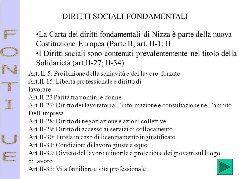 FONTI UE DIRITTI SOCIALI FONDAMENTALI