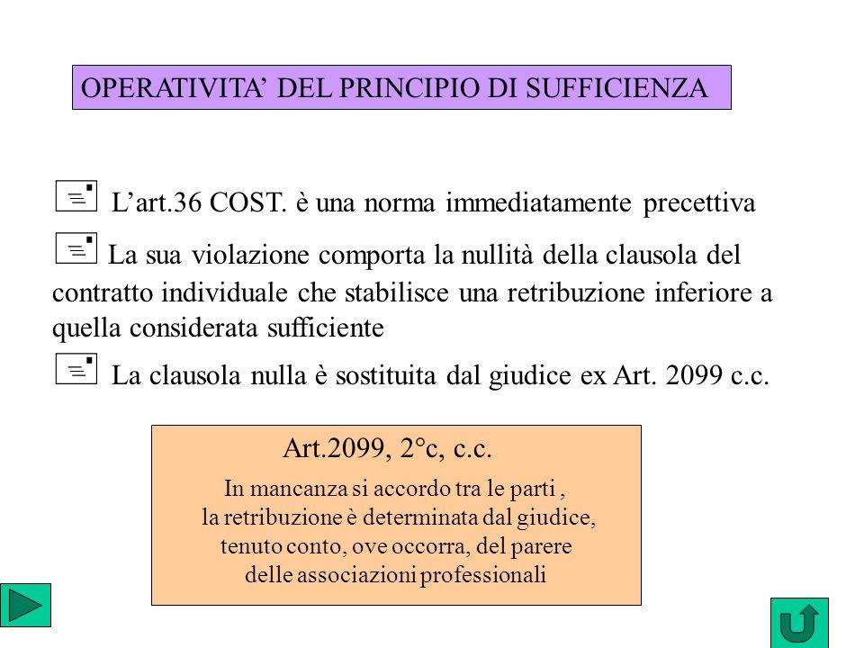  L'art.36 COST. è una norma immediatamente precettiva