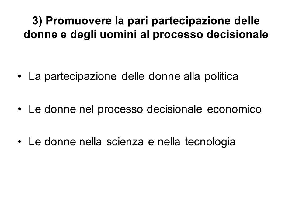 3) Promuovere la pari partecipazione delle donne e degli uomini al processo decisionale