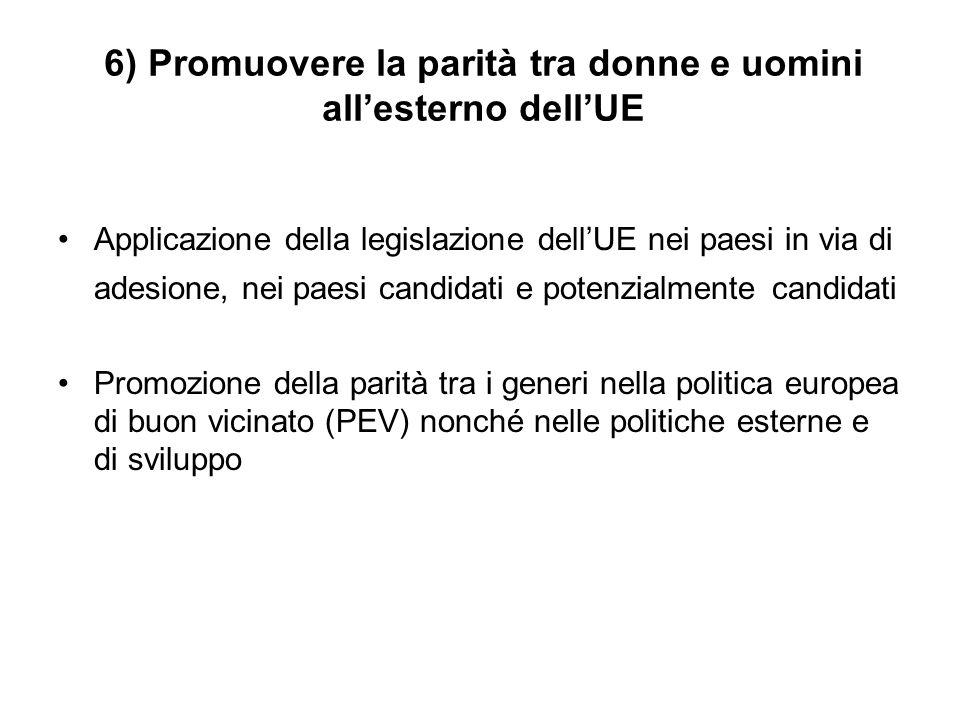 6) Promuovere la parità tra donne e uomini all'esterno dell'UE