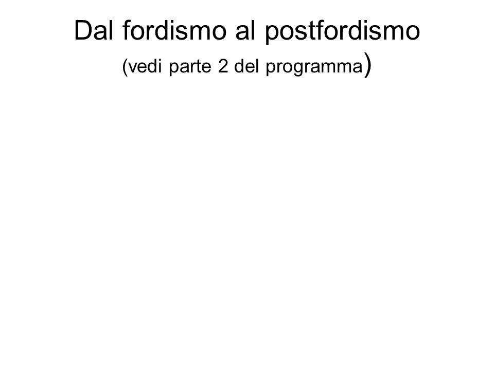 Dal fordismo al postfordismo (vedi parte 2 del programma)