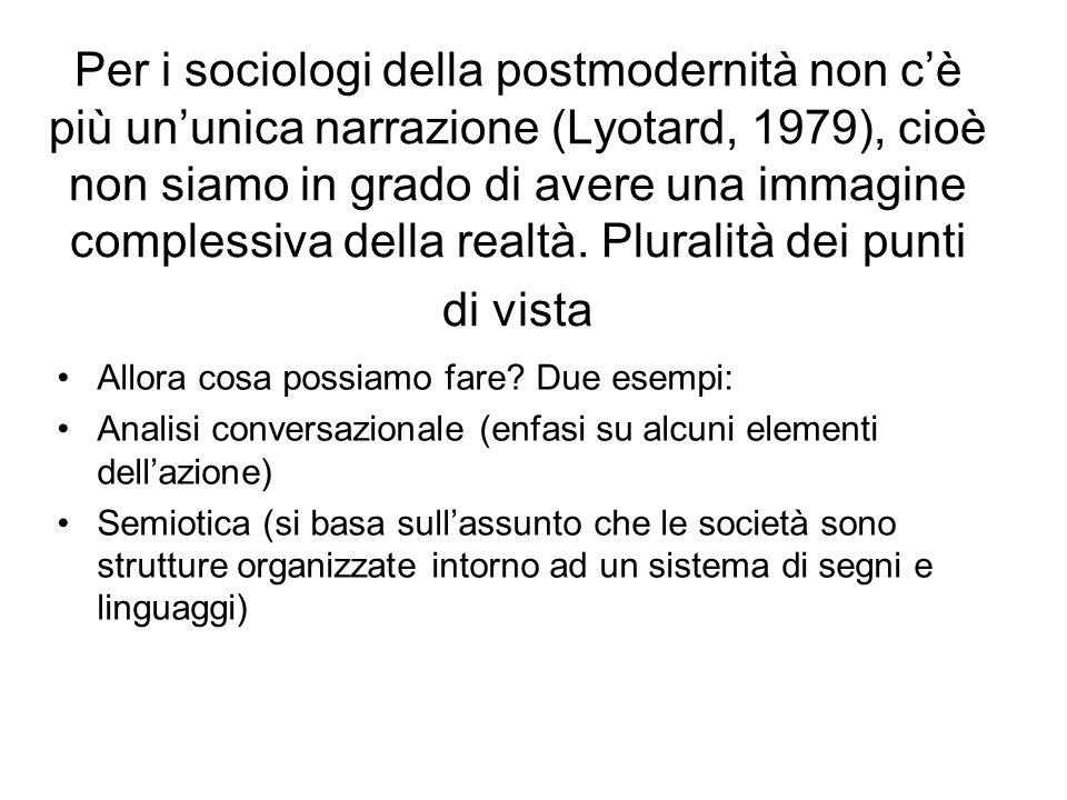 Per i sociologi della postmodernità non c'è più un'unica narrazione (Lyotard, 1979), cioè non siamo in grado di avere una immagine complessiva della realtà. Pluralità dei punti di vista