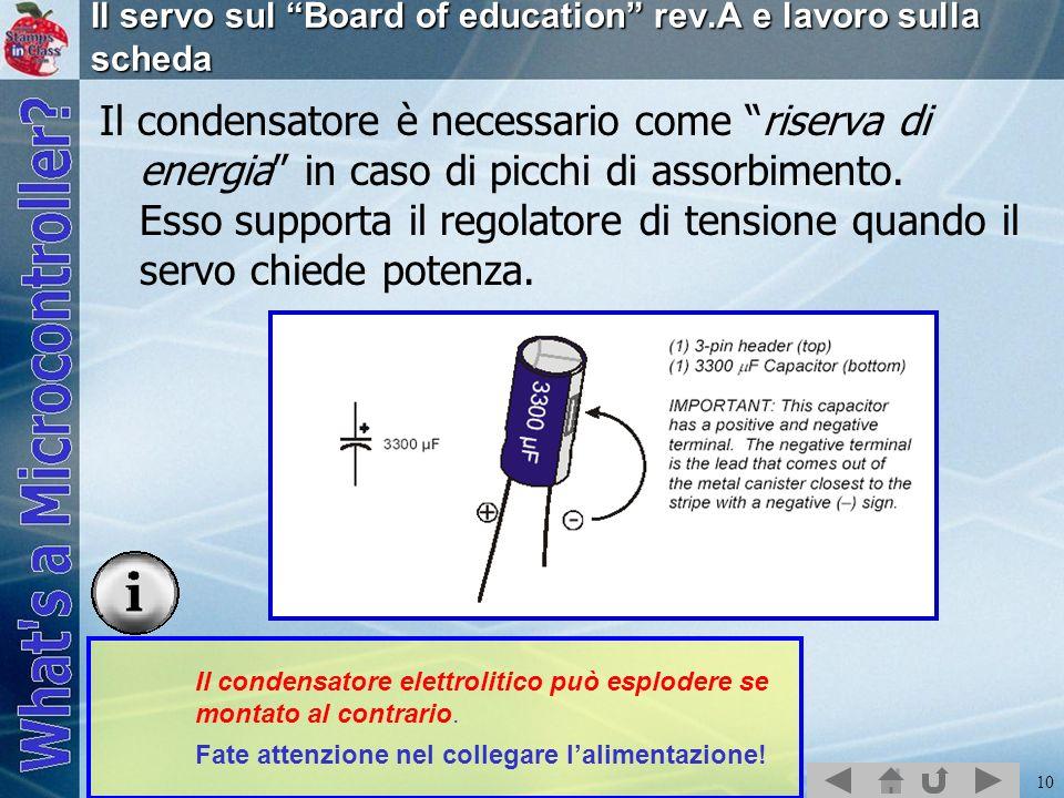 Il servo sul Board of education rev.A e lavoro sulla scheda