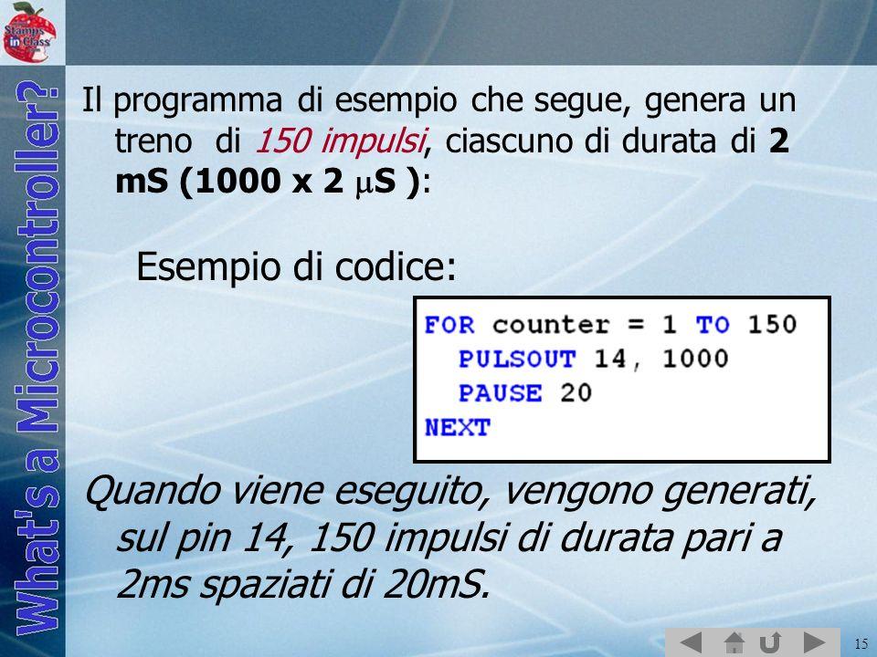 Il programma di esempio che segue, genera un treno di 150 impulsi, ciascuno di durata di 2 mS (1000 x 2 S ): Esempio di codice: