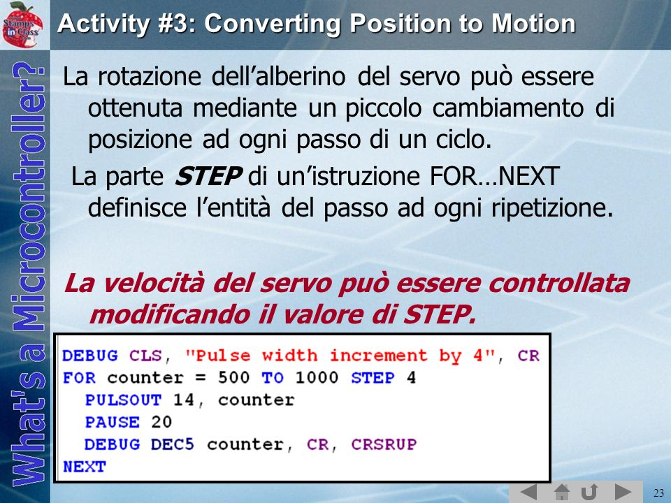 Activity #3: Converting Position to Motion