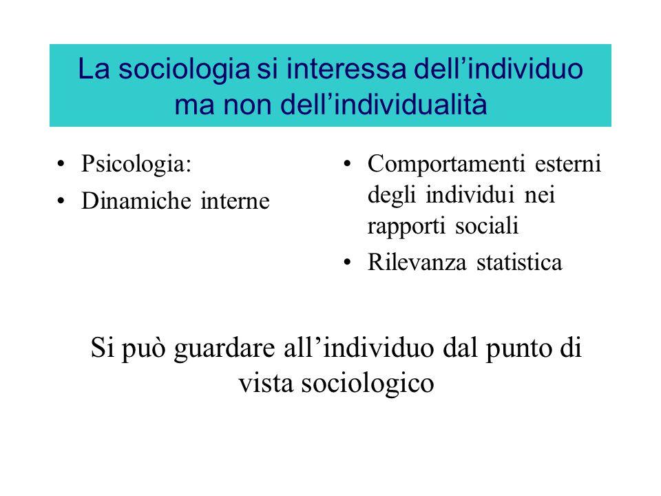 La sociologia si interessa dell'individuo ma non dell'individualità