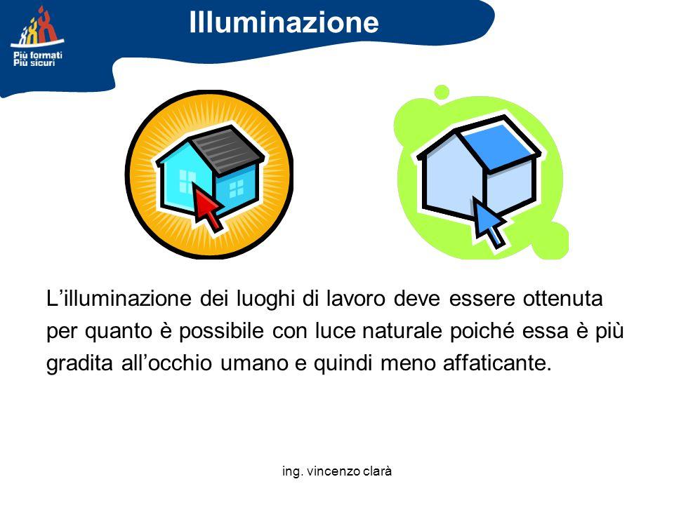 Illuminazione L'illuminazione dei luoghi di lavoro deve essere ottenuta. per quanto è possibile con luce naturale poiché essa è più.