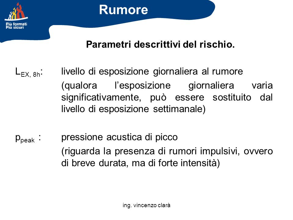 Rumore Parametri descrittivi del rischio.