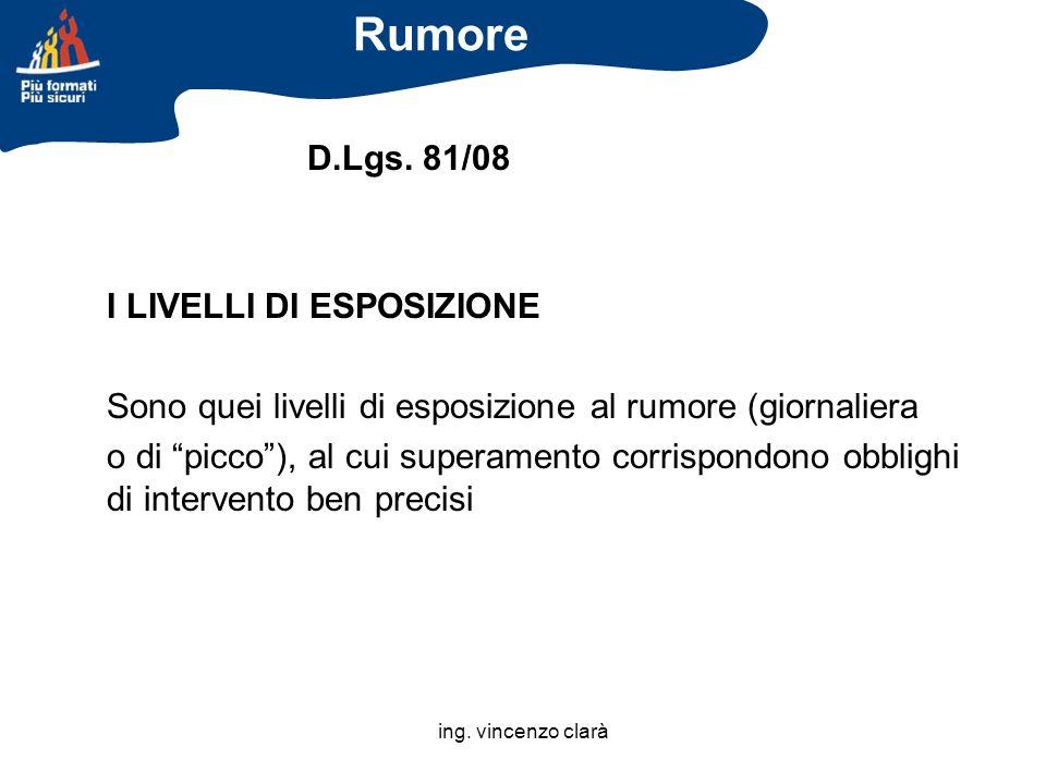 Rumore D.Lgs. 81/08 I LIVELLI DI ESPOSIZIONE