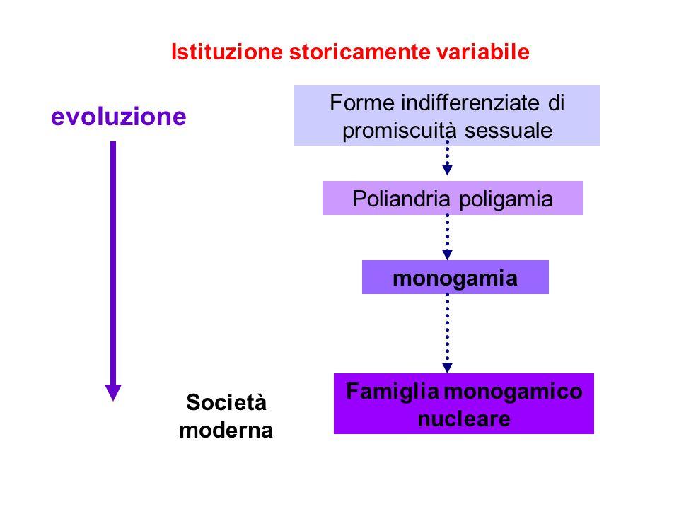 Istituzione storicamente variabile Famiglia monogamico nucleare