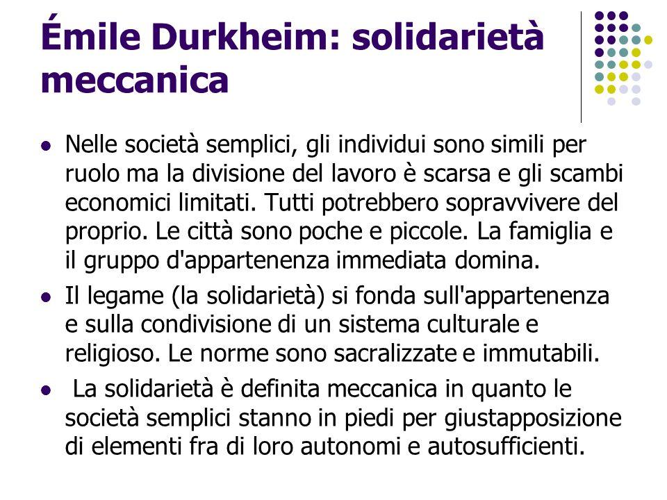 Émile Durkheim: solidarietà meccanica