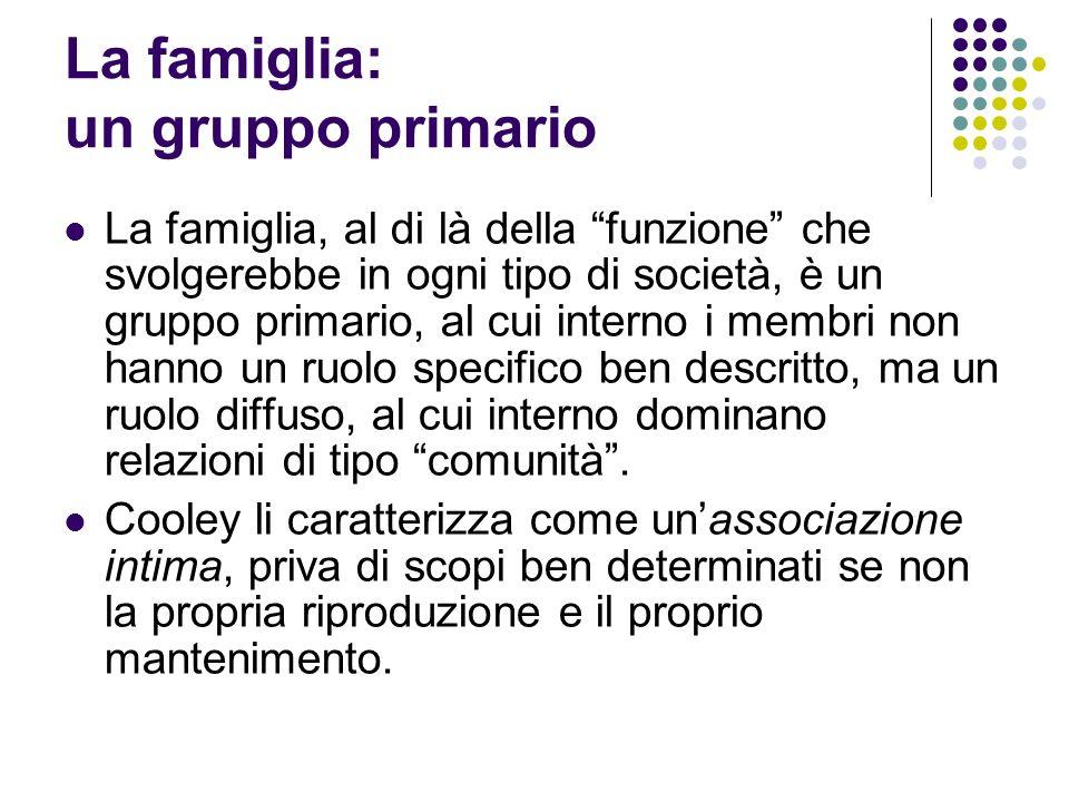 La famiglia: un gruppo primario