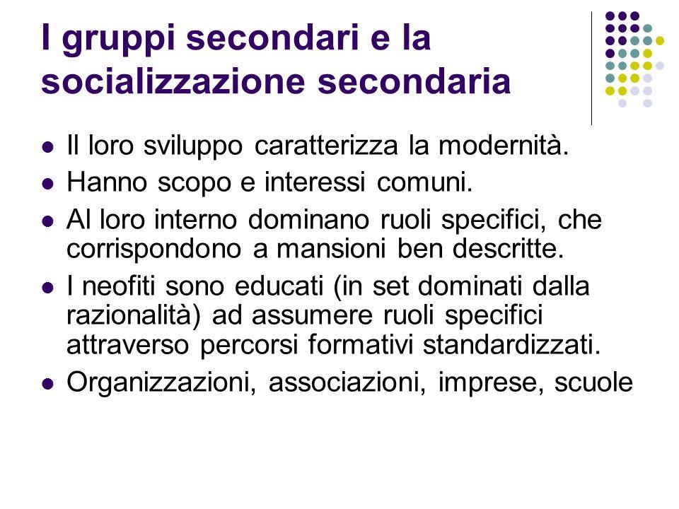 I gruppi secondari e la socializzazione secondaria