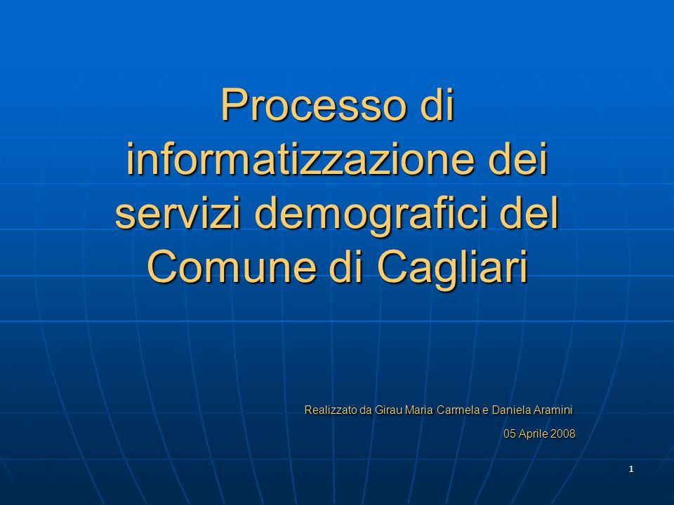 Processo di informatizzazione dei servizi demografici del Comune di Cagliari Realizzato da Girau Maria Carmela e Daniela Aramini 05 Aprile 2008