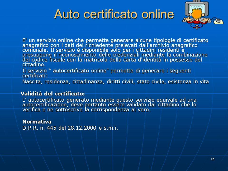 Auto certificato online