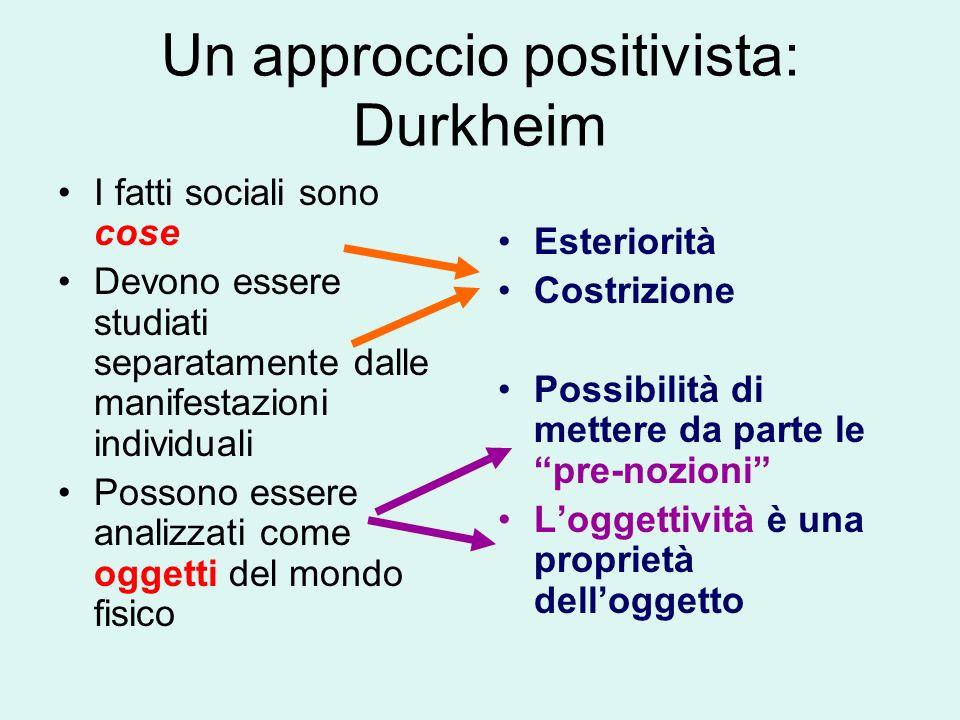 Un approccio positivista: Durkheim