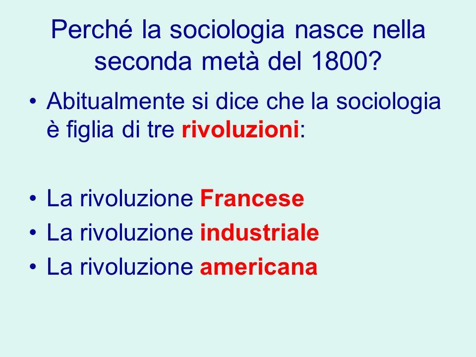 Perché la sociologia nasce nella seconda metà del 1800