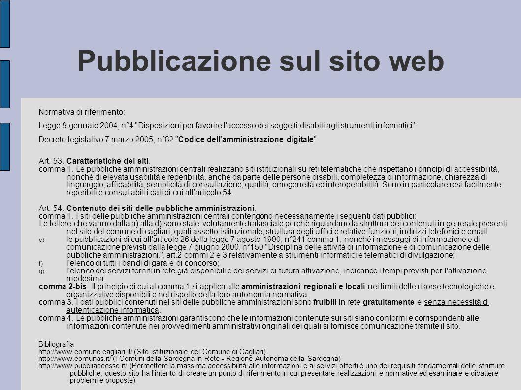 Pubblicazione sul sito web