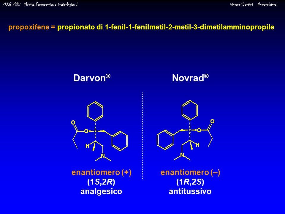 Darvon® Novrad® enantiomero (+) (1S,2R) analgesico enantiomero (–)