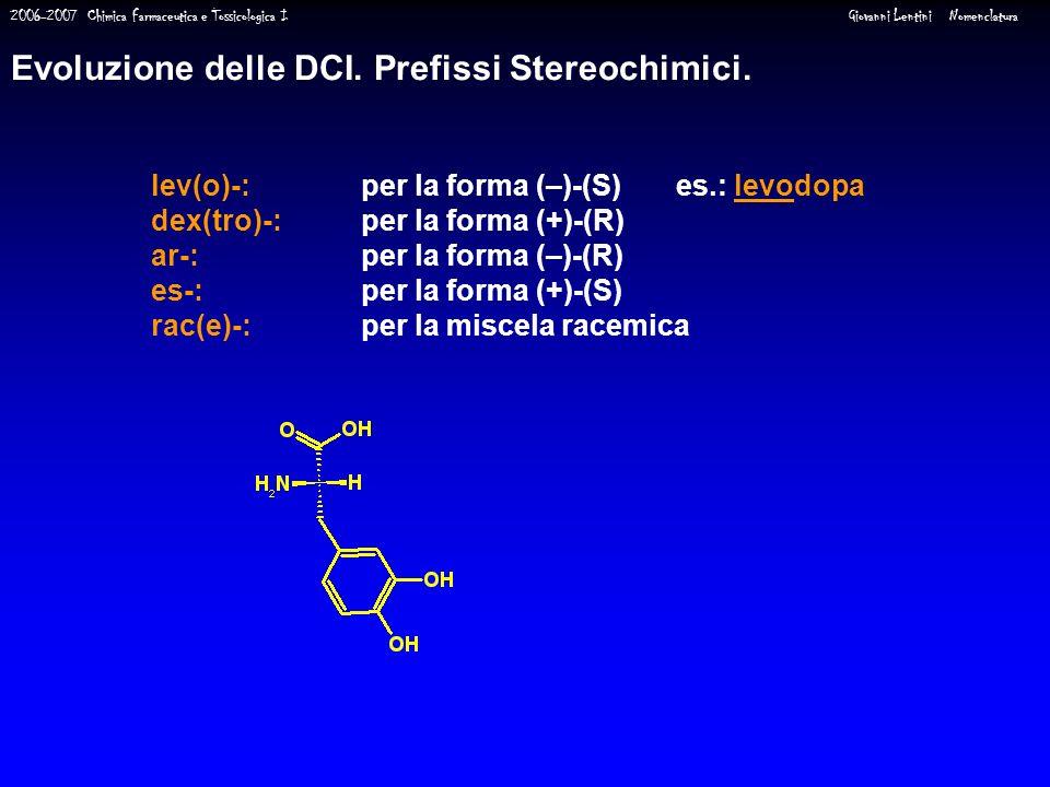 Evoluzione delle DCI. Prefissi Stereochimici.
