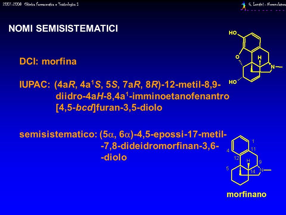 NOMI SEMISISTEMATICI DCI: morfina