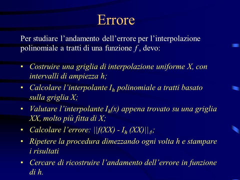 ErrorePer studiare l'andamento dell'errore per l'interpolazione polinomiale a tratti di una funzione f , devo: