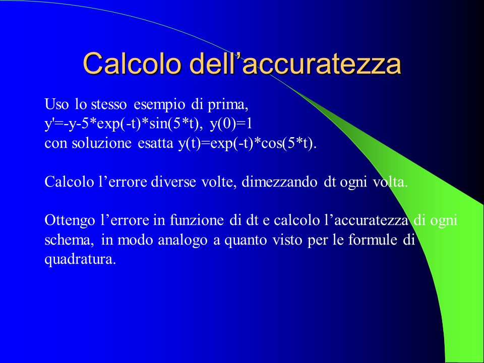 Calcolo dell'accuratezza