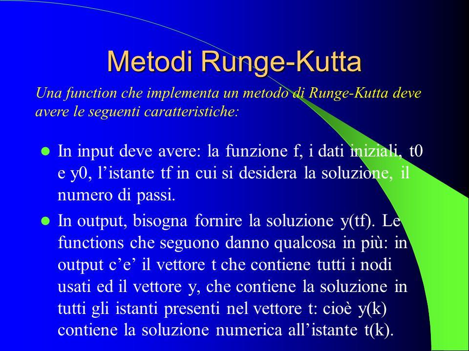 Metodi Runge-Kutta Una function che implementa un metodo di Runge-Kutta deve. avere le seguenti caratteristiche: