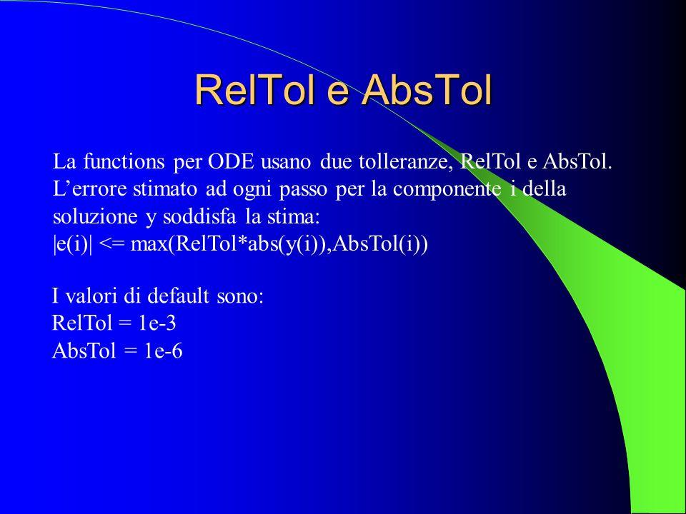 RelTol e AbsTol La functions per ODE usano due tolleranze, RelTol e AbsTol.