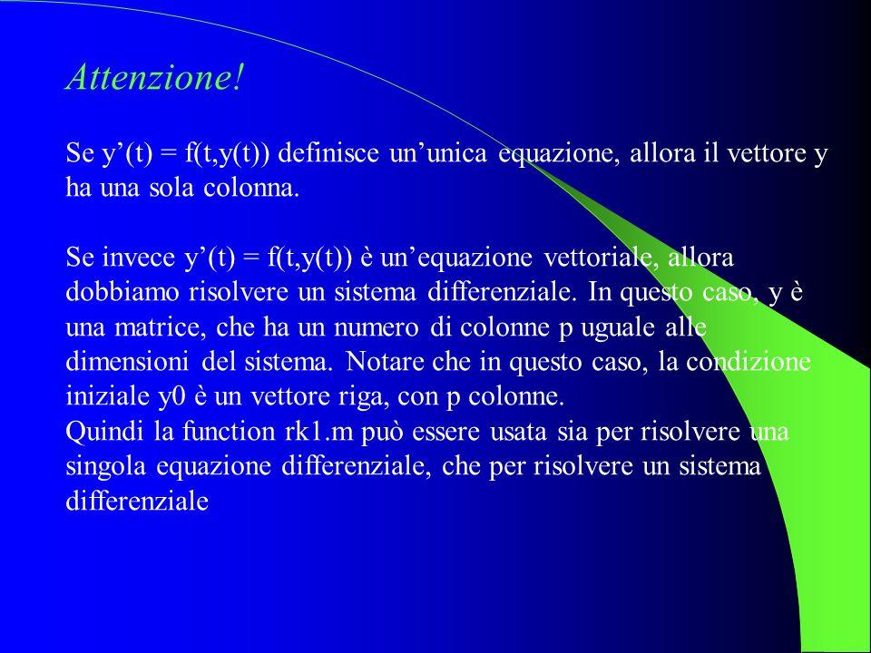 Attenzione! Se y'(t) = f(t,y(t)) definisce un'unica equazione, allora il vettore y ha una sola colonna.