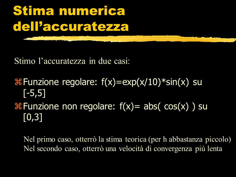 Stima numerica dell'accuratezza