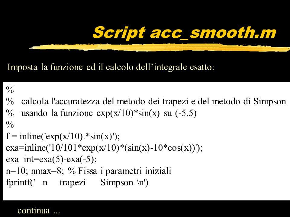 Script acc_smooth.m Imposta la funzione ed il calcolo dell'integrale esatto: %