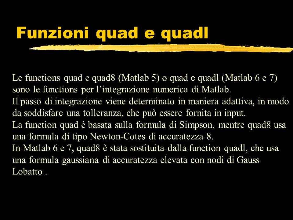 Funzioni quad e quadl Le functions quad e quad8 (Matlab 5) o quad e quadl (Matlab 6 e 7) sono le functions per l'integrazione numerica di Matlab.