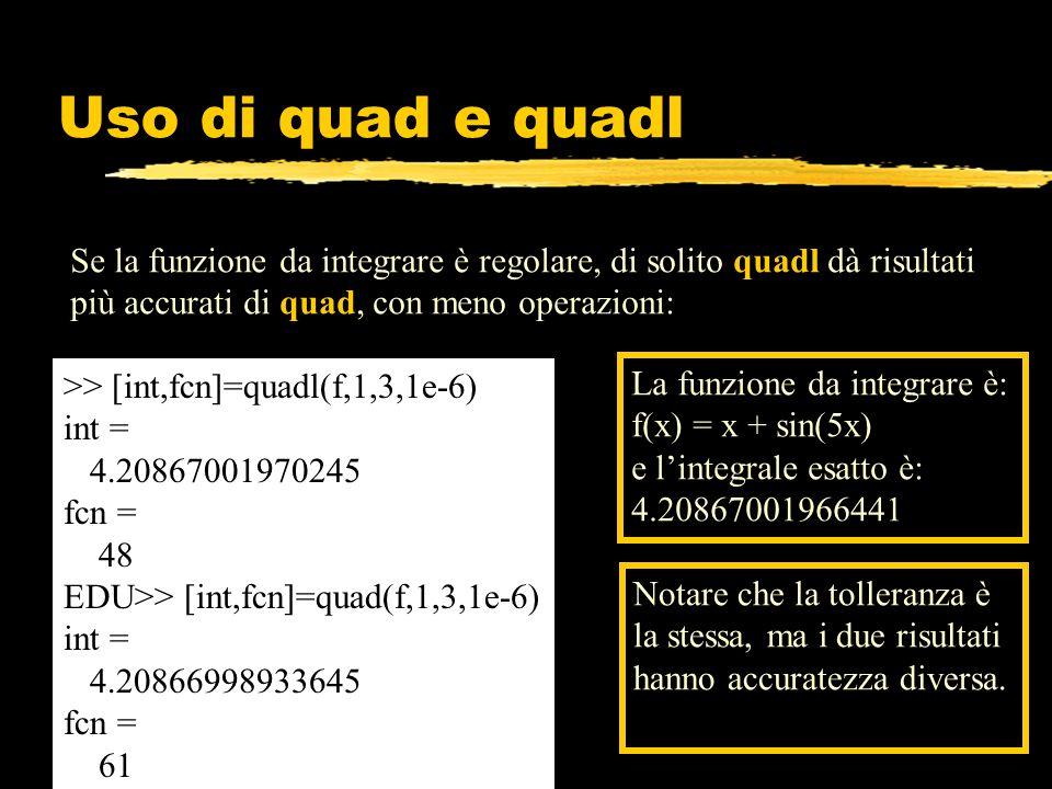 Uso di quad e quadl Se la funzione da integrare è regolare, di solito quadl dà risultati più accurati di quad, con meno operazioni: