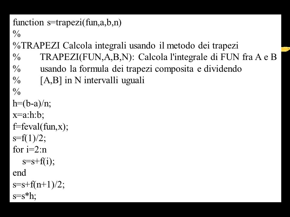 function s=trapezi(fun,a,b,n)
