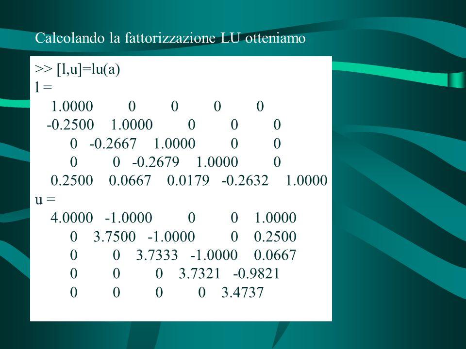 Calcolando la fattorizzazione LU otteniamo