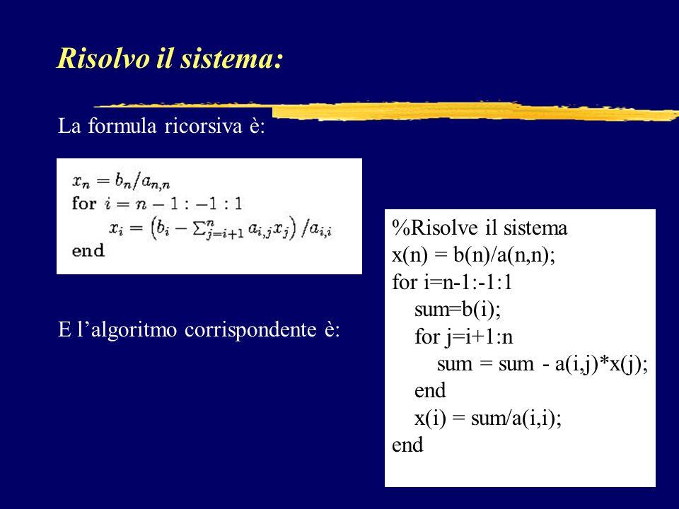 Risolvo il sistema: La formula ricorsiva è: %Risolve il sistema