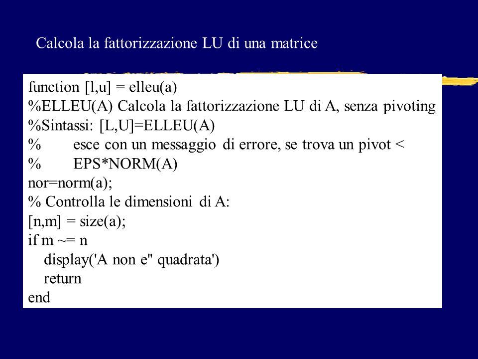 Calcola la fattorizzazione LU di una matrice