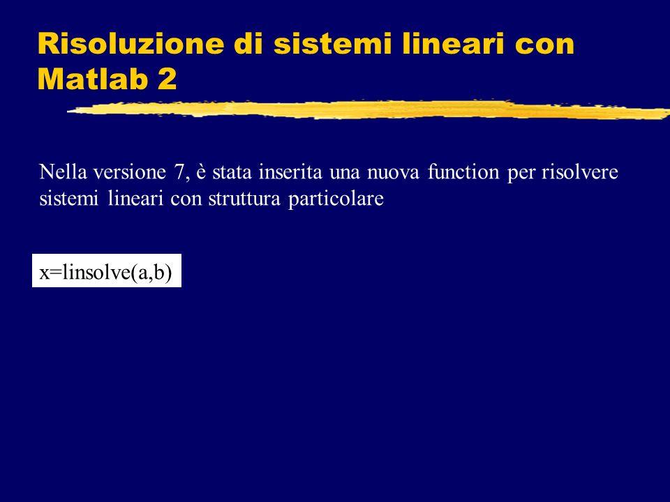 Risoluzione di sistemi lineari con Matlab 2