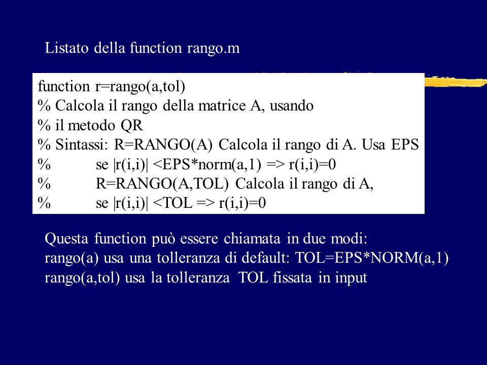 Listato della function rango.m