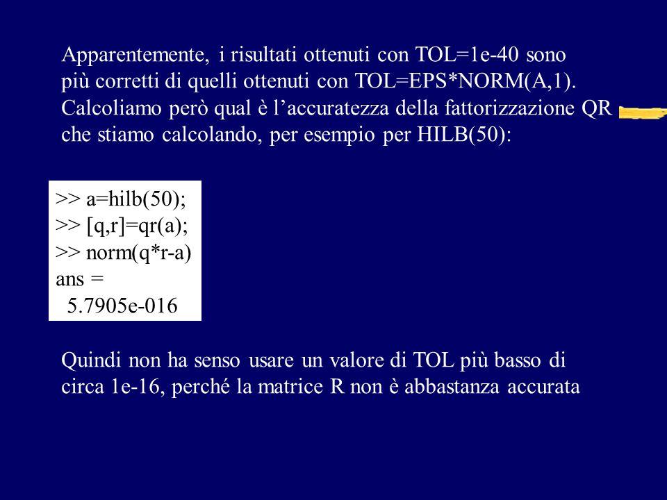 Apparentemente, i risultati ottenuti con TOL=1e-40 sono
