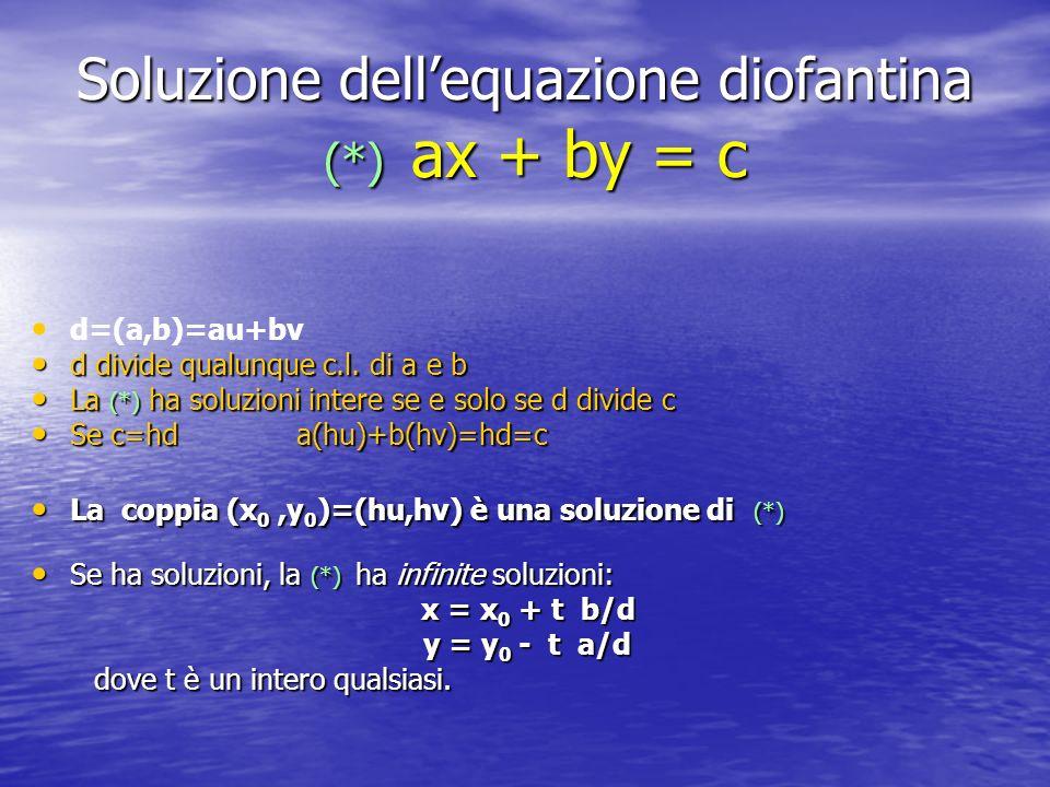 Soluzione dell'equazione diofantina (*) ax + by = c