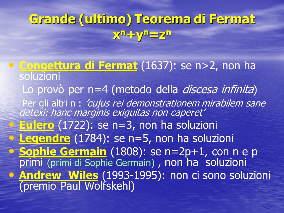 Grande (ultimo) Teorema di Fermat xn+yn=zn