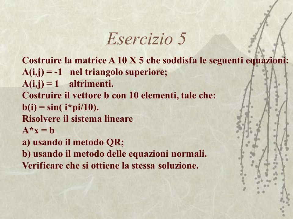 Esercizio 5 Costruire la matrice A 10 X 5 che soddisfa le seguenti equazioni: A(i,j) = -1 nel triangolo superiore;